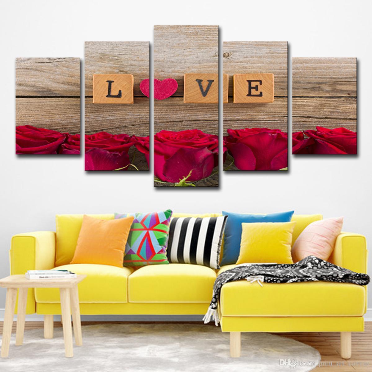 Großhandel Leinwandbilder Wohnzimmer Dekor Wandkunst 5 Stück Liebe ...