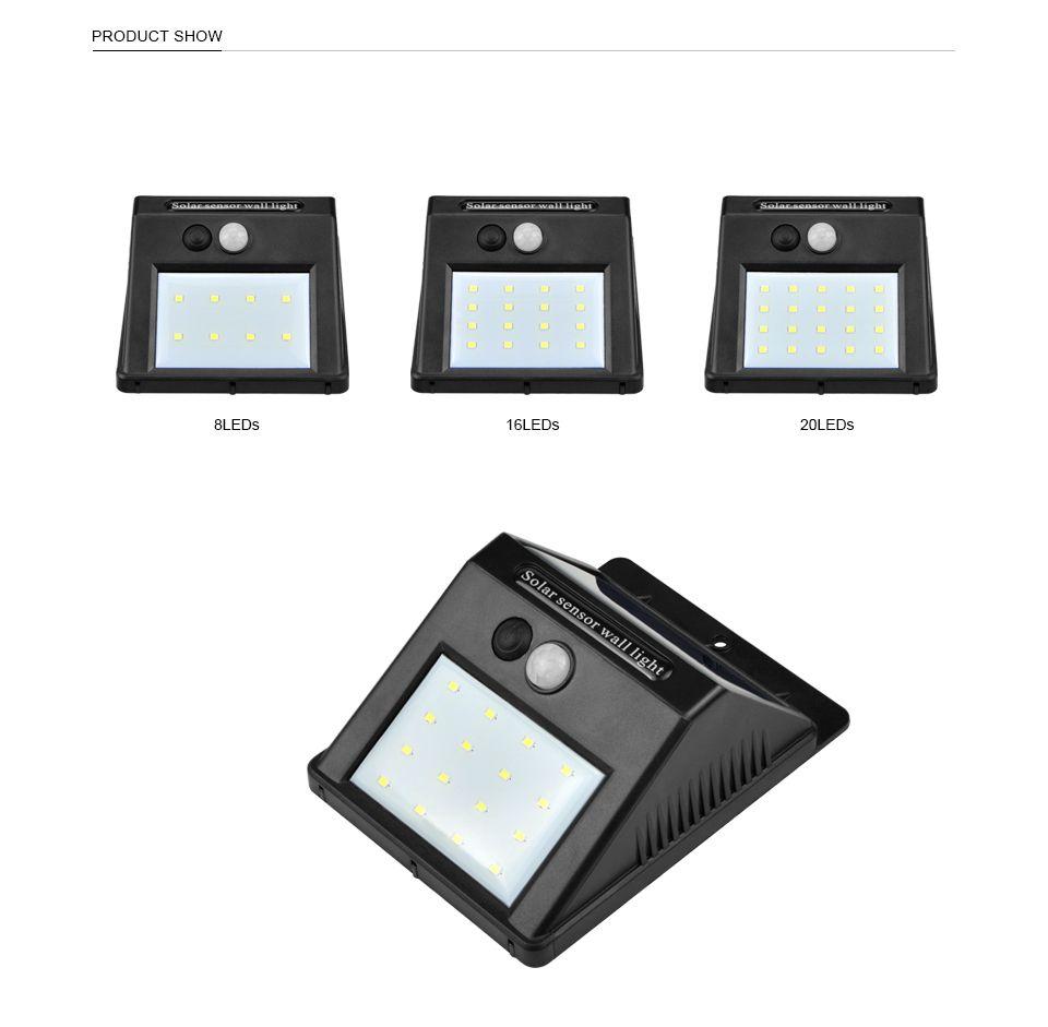 الطاقة الشمسية LED الشمسية ضوء مصباح الجدار في الهواء الطلق LED للطاقة الشمسية مع لمبة شرطة التدخل السريع استشعار الحركة ليلة الأمن شارع ساحة مسار حديقة مصباح