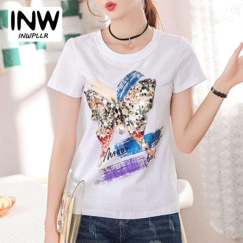 c88143871 Compre 2018 Poleras Mujer Verano Casual Camiseta De Mujer Summer Butterfly Lentejuelas  Camisetas Casual Manga Corta De Impresión Tops Camisetas Para Mujeres ...