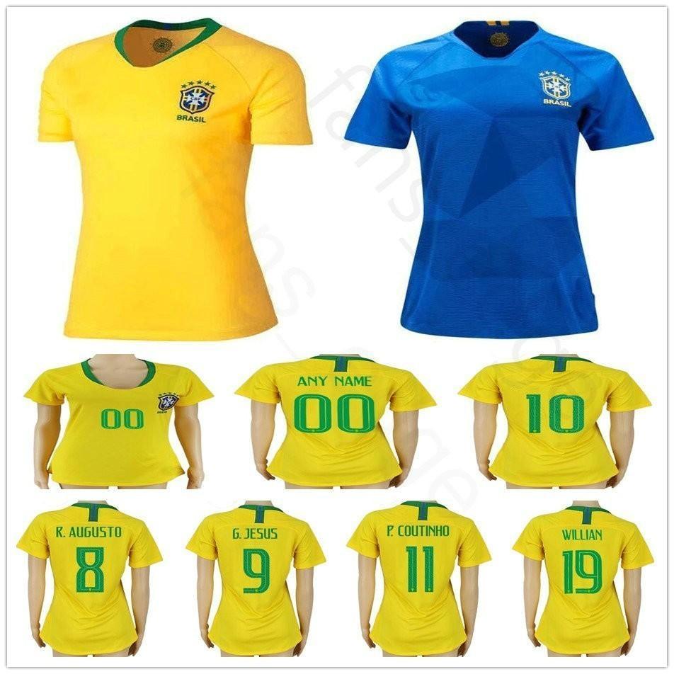 hot sale online 6ab3a feb69 2018 Woman Man Kids Soccer Jerseys 10 PELE G.JESUS WILLIAN RONALDINHO  COUTONHO MARCELO Custom Women Men Kids Youth Football Shirt