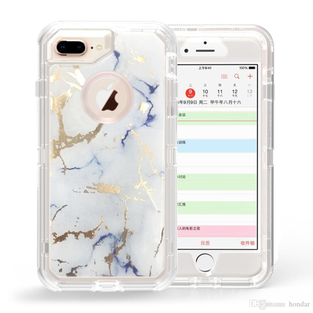 wholesale dealer 90242 b19e3 Hot sale for iphone 8 plus case luxury brand marble grain hybrid 2in1 robot  case tpu pc full protective defender case