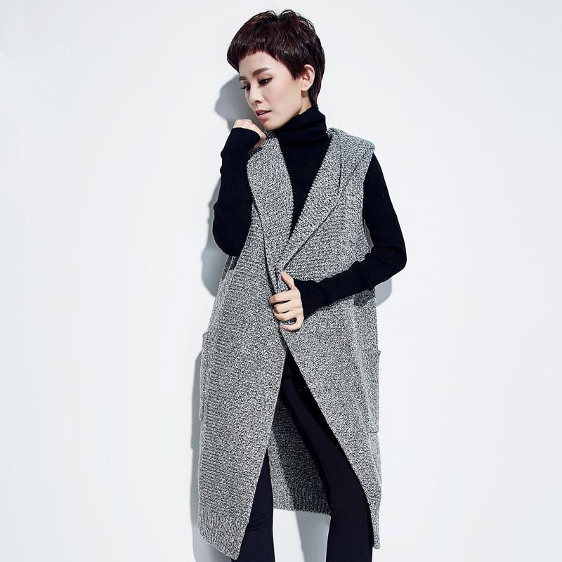Elegancki długie sweter kamizelka kobiety dzianiny kardigan bez rękawów z kapturem zima ciepła kamizelka żeńska kamizelka kurtka wierzchnia 2017 nowa
