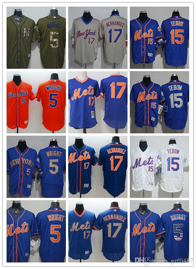 quality design ede1a 7c8da custom Men's women youth NY Mets Jersey #5 David Wright 15 Tim Tebow 17  Keith Hernandez Home Running Blue White Grey Baseball Jerseys