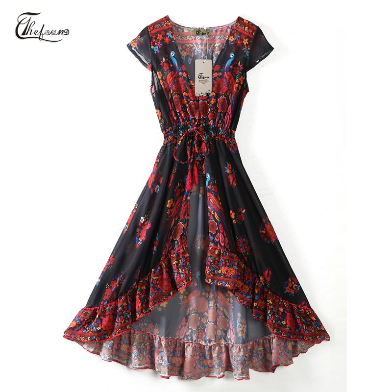 ce16987b7c9 Women Ladies Fashion Sweet Summer Chiffon Dress Deep V Neck Sashes Floral  Print Ruffles High Waist Ankle Length Dress Women In Long Dresses Black And  Red ...