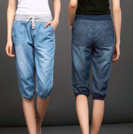 775033a8832f3 2019 2017 Plus Size Denim Jeans Mujer Mid Waist Women Harem Pants Summer  Femme Light Washed Loose Cotton Calf Length Trousers 3XL 4XL From Beasy114