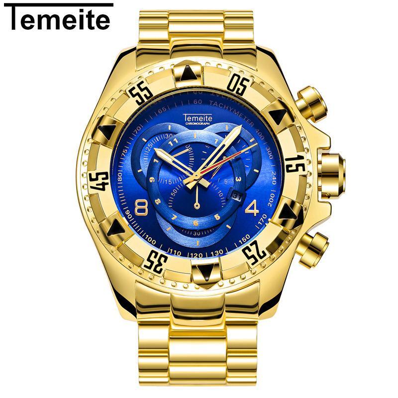 160298ae53e04 Compre Relógios Masculinos De Luxo De Ouro Azul Moda Masculina Temeite  Marca De Aço Inoxidável Relógios De Pulso Dos Homens Grande Mostrador Do  Relógio À ...