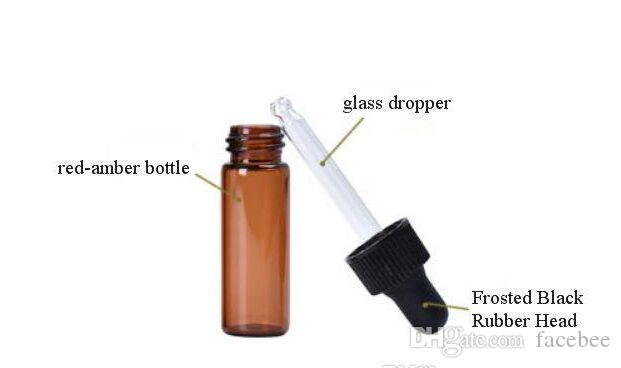 Nouvel arriveal 4 ml rouge-ambre flacon compte-gouttes en verre Top Quality huile essentielle bouteille affichage flacons petit sérum parfum échantillon Test bouteille