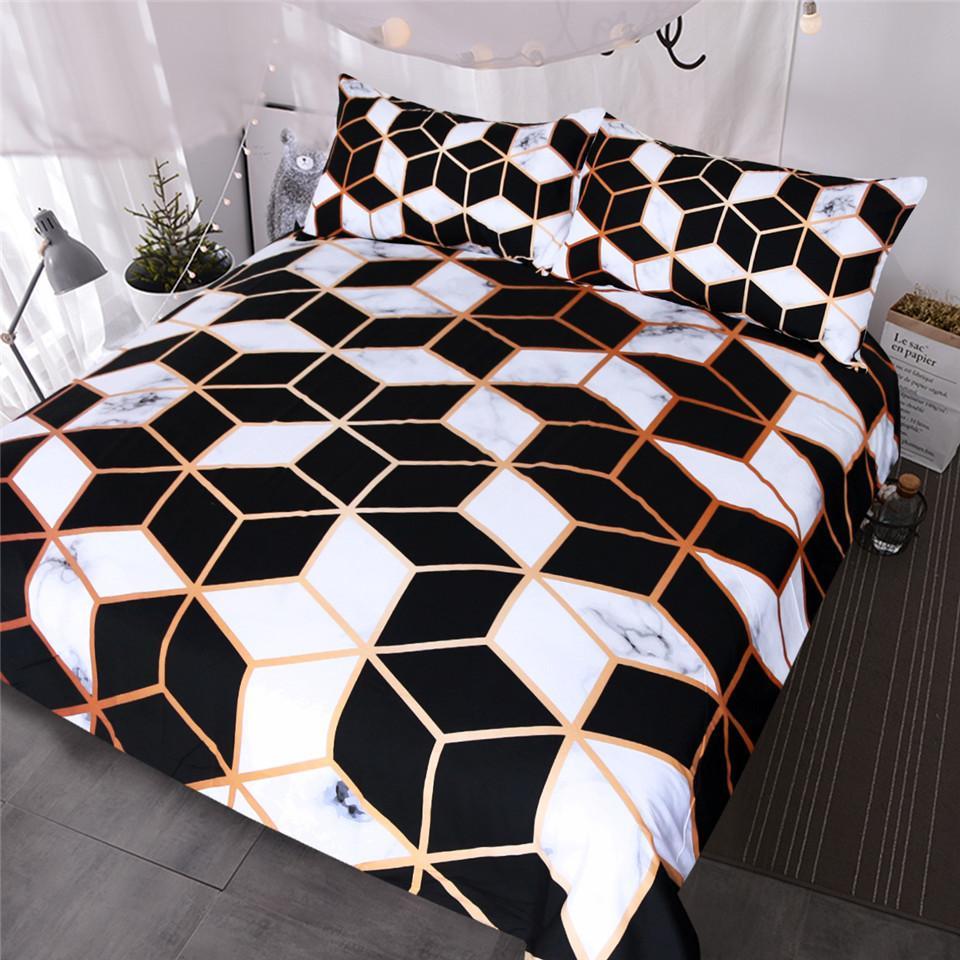 Geometric bedding set black white duvet cover set marble print blocks cube bed cover fashionable bedspreads queen bedding set bedding cover bedding online