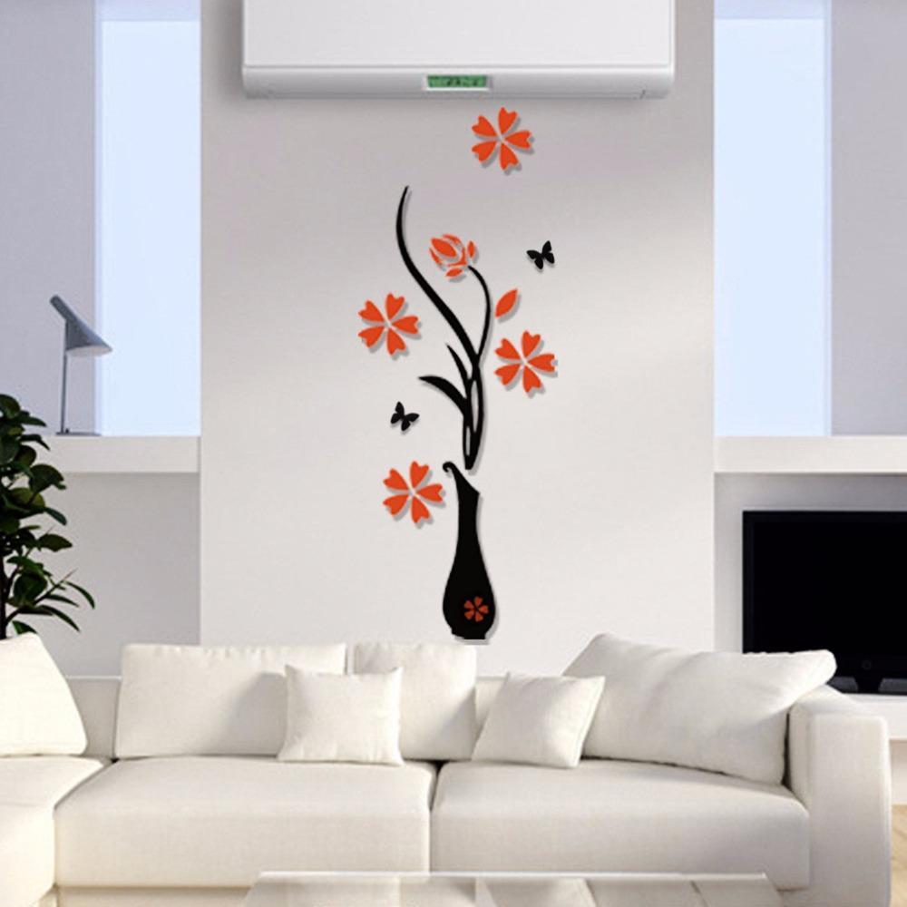 Florero 3D acrílico cristal tridimensional pegatinas de pared tv de fondo de la pared pasillo pasillo decoración del hogar