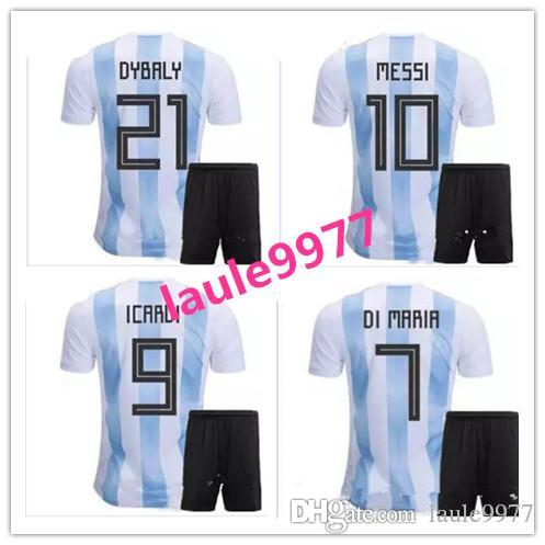 d0ec9e4cf01 2019 2018 World Cup Argentina Home 10 Messi DYBALA DI MARIA Adult Kit+Socks  Soccer Jerseys 17 18 Argentine LAVEZZI AGUERO HIGUAIN Football Shirt From  ...