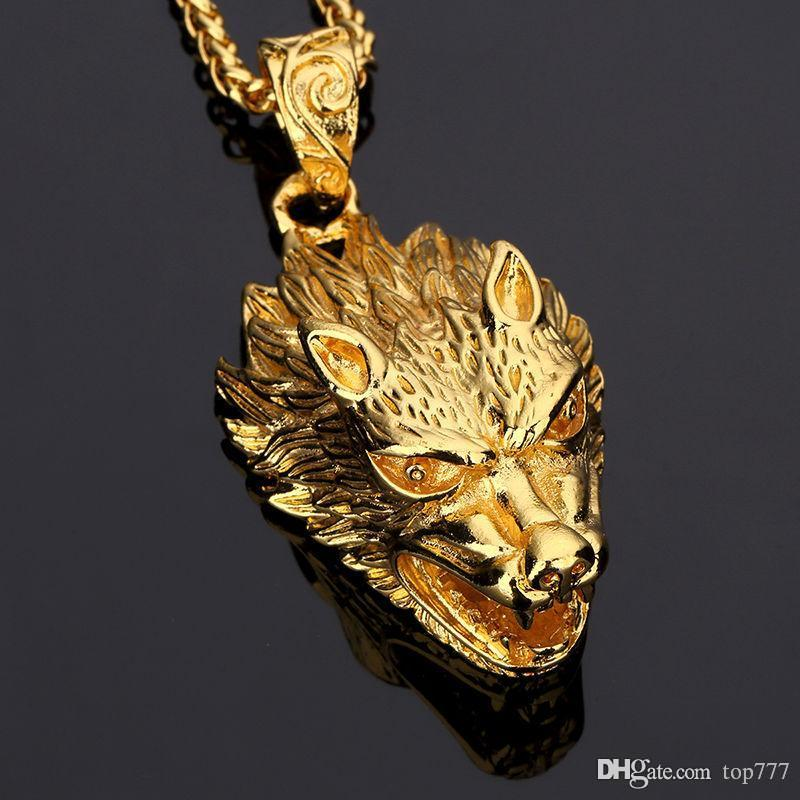 2018 Men Jewelry Gold Wolf Head Pendant Necklace Amulets Animal Charm  Ornaments Supernatural Amulet Knot Hip Hop Fashion Cool