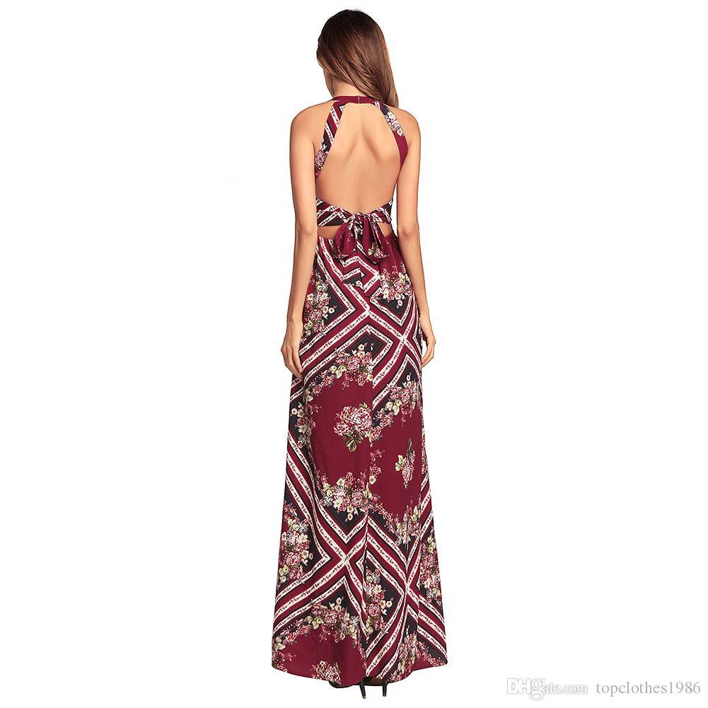 Женская мода Сексуальное вечернее платье Бордо красного цвета с открытой спиной и шифоновым платьем с открытой спиной