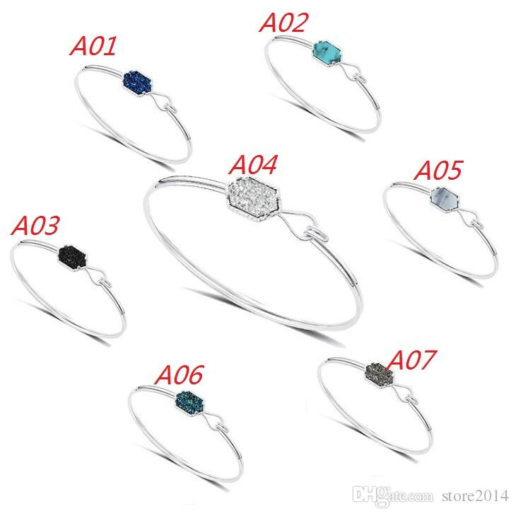 Mode Druzy Drusy Bracelet Argent Plaqué Or Populaire Faux Pierre Turquoise Bracelets Pour Femmes Lady Bijoux