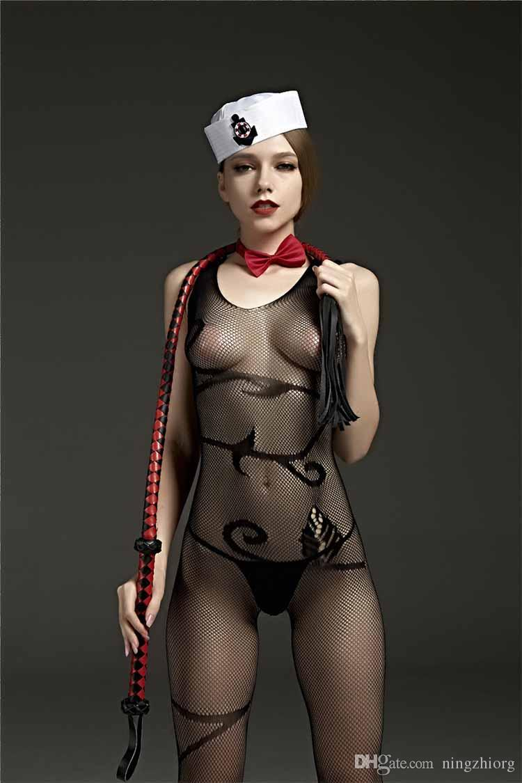 Rimes lingerie sexy Colete simples roupas siameses sem mangas virilha aberta malha conectar meias de malha do corpo Atacado