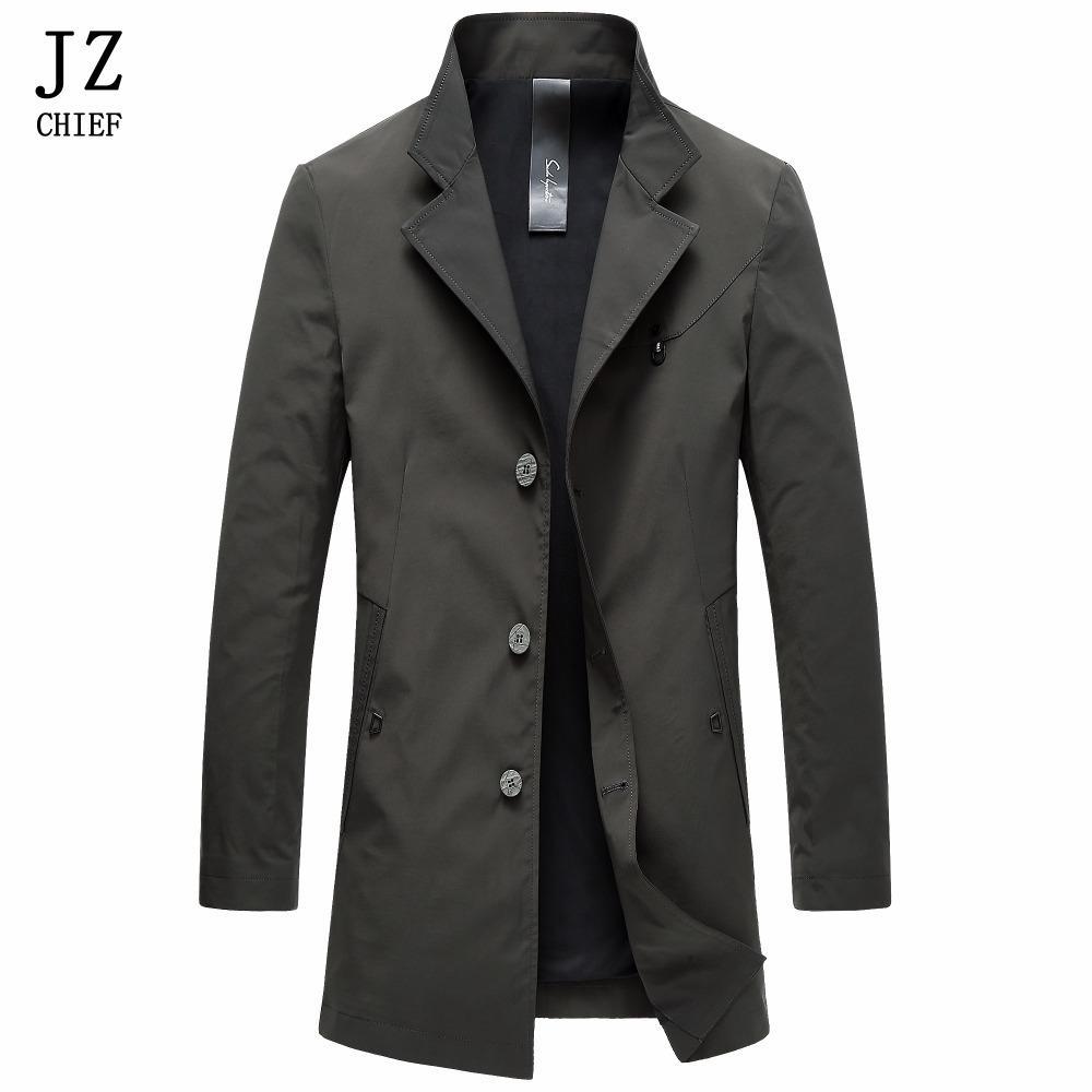 Acquista JZ CHIEF Spring Trench Coat Men Frock Coat Stand Colletto Bottoni  Nero Verde Giacche Masculino Giacca Lunga Impermeabile Soprabito A  315.13  Dal ... 59f5e874ae4
