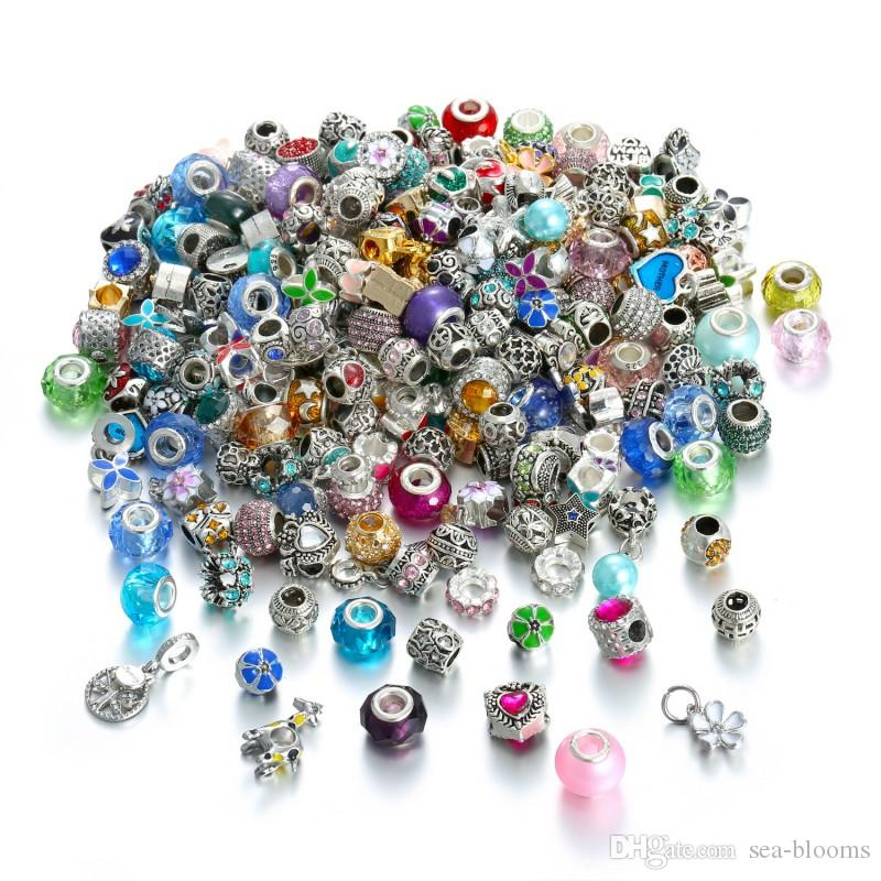 50pcs/Lot Multicolor Enamel Animal Big Hole Loose Bead Charms Glass Charms Beads Fit Bracelets Valentine'S Gift Free Shipping D693S