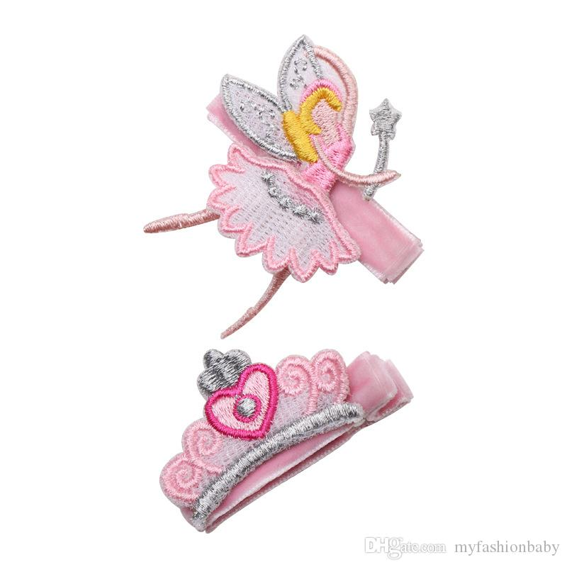 2018 New Baby Embroidered Crown Fairy Girls Hair clips Kids Summer Style Hair Clips Cartoon Crown Cute Kids Hairpins