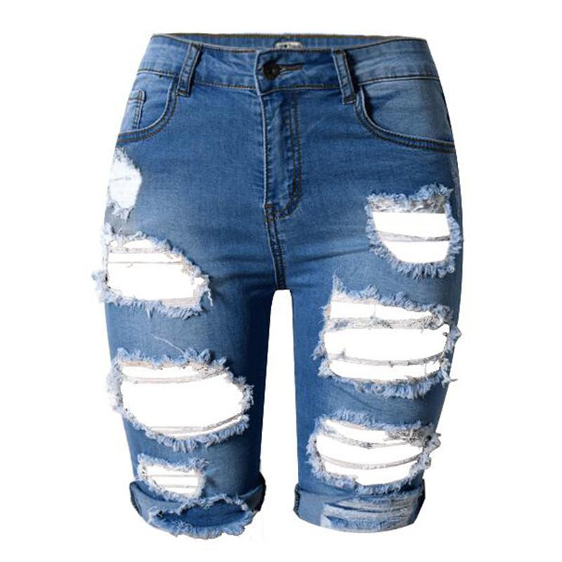 e75a8b818 MORUANCLE Fashion Women's Destroyed Short Jeans Hi Street Ripped Denim  Shorts For Lady Streetwear Distressed Jean Shorts. Store-wide Discount