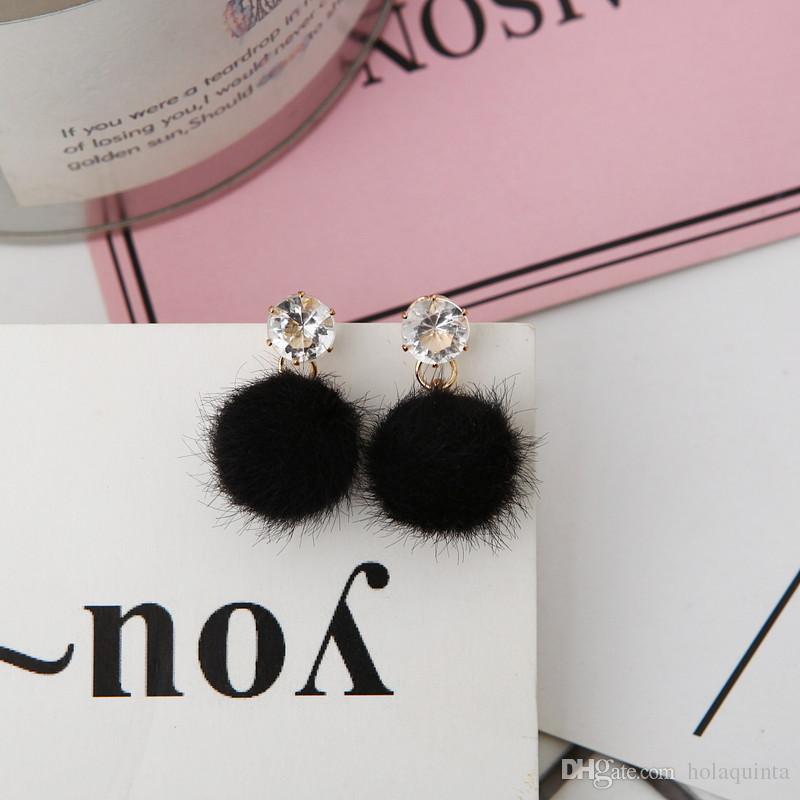 imitate rabbit Fur Ball PomPom Earrings for Women pom pom pink Crystal earring boucle Jewelry