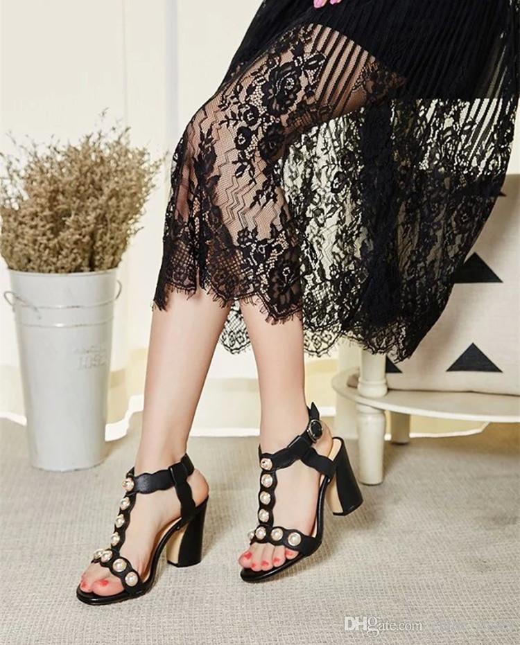 Avec boîte rouge argent or noir gladiateurs avec perles étoiles talons hauts en cuir mode femmes sandales d'été grande taille euro 35-42