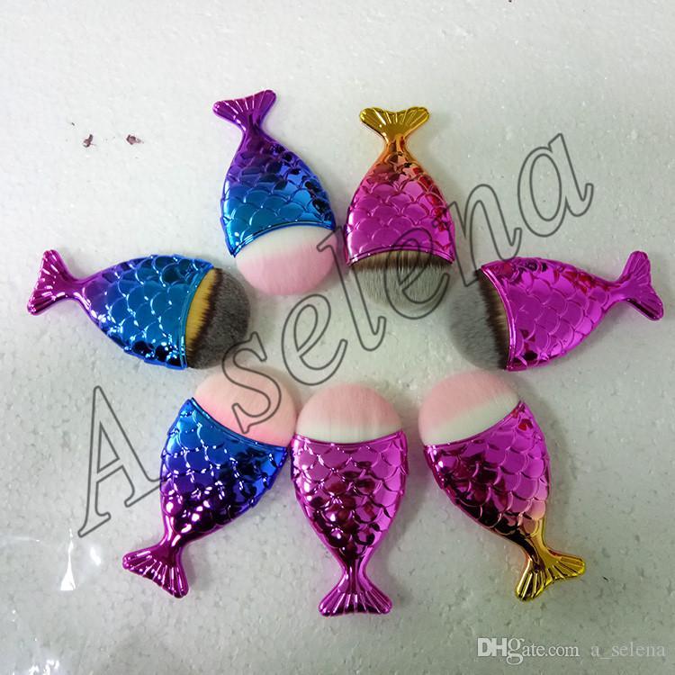 Mermaid oval fırçalar Mermaid Vakfı Fırça Altın Mermaid Makyaj Fırçalar Set Güzellik Kozmetik Allık Pudra mix renk