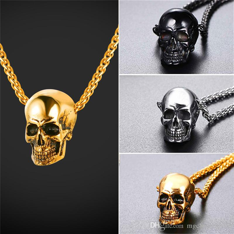 32d02a60a8006 U7 Skull Pendant Necklace Stainless Steel/Gold Plated/Black Gun Plated Mens  Skull Necklace Punk/Gothic Necklace Halloween Gift GP2776