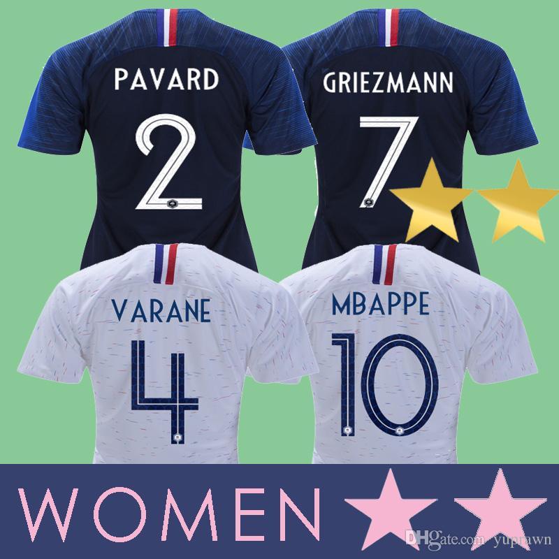 3768c9500c Compre France Maillot Women Camisa De França Mulheres MULHERES 2018 2019  GRIEZMANN DEMBELE POGBA MBAPPE Copa Do Mundo De Futebol MARTIAL KANTE 18 19  UMTITI ...