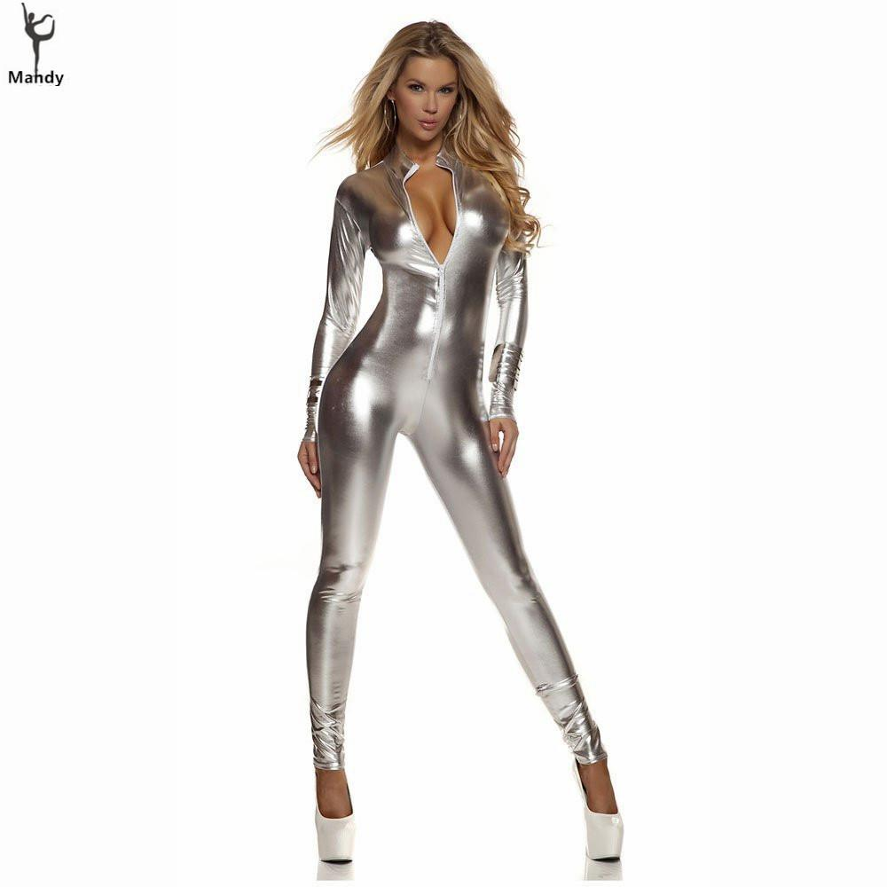 17e8f2d08 2019 Plus Size Black Sexy Shiny Cat Suit Women Silver Metallic Unitard  Tight Suit Lycra Spandex Bodysuit Zipper Long Sleeve Catsuits From  Matilian