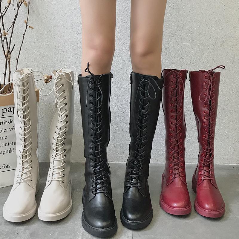 a68da33926f67 Acheter Moxxy En Cuir À Lacets Sur Le Genou Bottes Femmes Cuisse Bottes  Hautes Hiver Femmes Daim Chaussures D hiver Femme De Haute Qualité De   69.45 Du ...