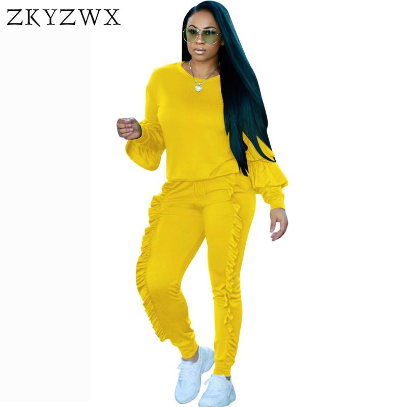 043d75b07191 2019 ZKYZWX Ruffle Lantern Sleeve Set Women Pant And Top 2018 Autumn Plus  Size Casual Outfit Sweat Suits Two Piece Tracksuit D18103105 From Xiao0002