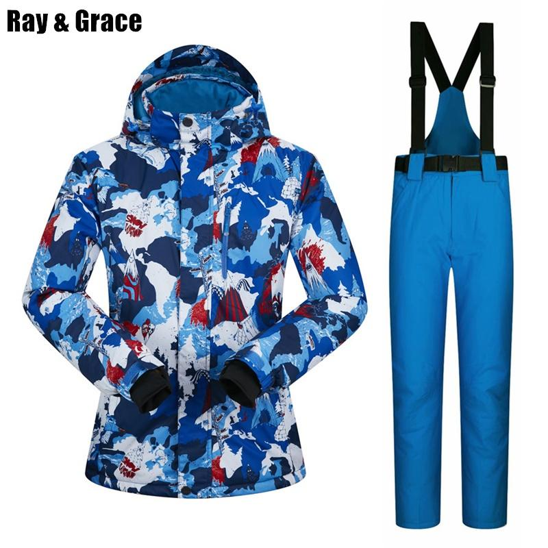 2019 RAY GRACE Ski Suit Men Winter Outdoor Thermal Waterproof Windproof  Snow Sports Jacket And Pants Male Snowboard Clothes Set From Longanguo 87b7c8fab