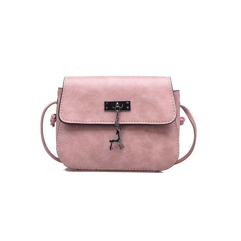cbff2811aa8e9 Shell Women Messenger Bags Small Square Cross Body Bag PU Leather Deer  Pendant Saddle Tetro Shoulder Bag Handbags Bolsas Pink Handbags Branded  Handbags From ...