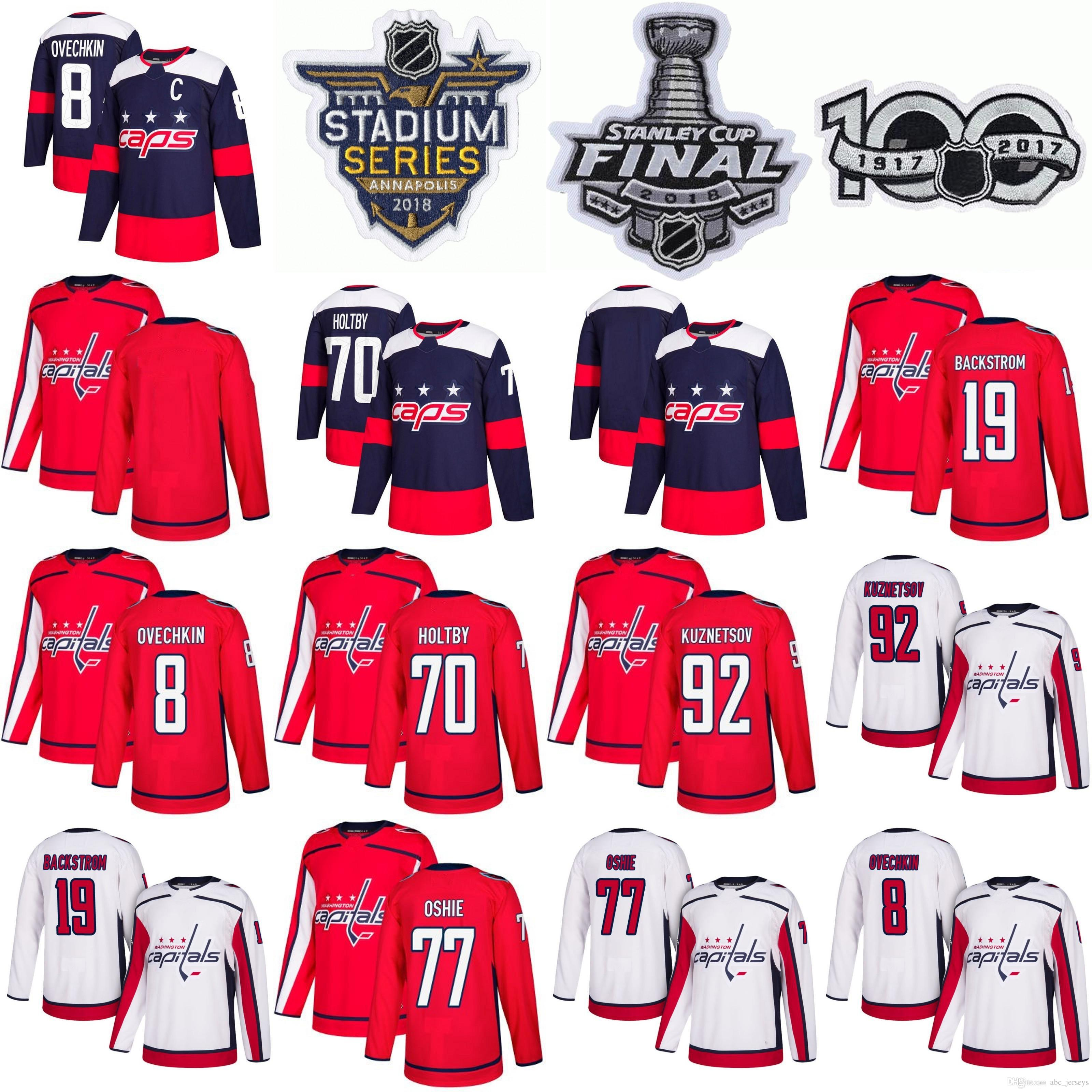 5fef30447ad 2018 Stanley Cup Men s Washington 8 Alex Ovechkin 77 TJ Oshie 70 ...