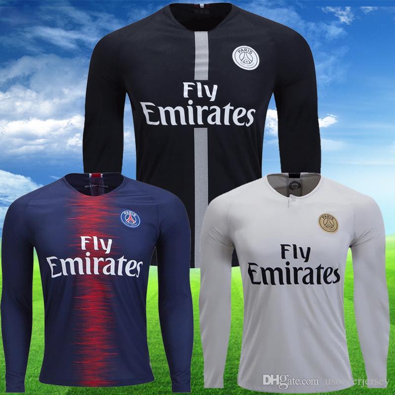 Psg Jordan Maillot Blanco Negro Tercera Camiseta De Manga Larga Jerseys De  Fútbol De Tailandia Maillot De Pie MBAPPE CAVANI LS 2019 Kits De Fútbol  Camiseta ... 6a6de4300c944