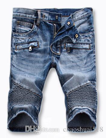 New fashion worn blue denim shorts trousers zipper explosion models 907