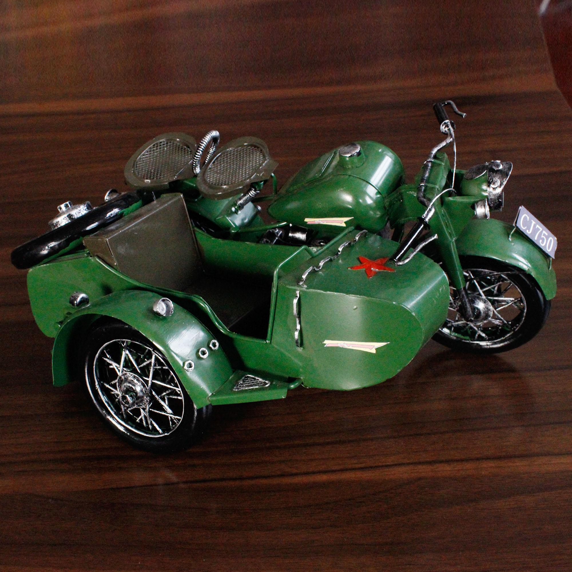 Wholesale New Arrival Antique Style Green Color Home Decoration Accessories  Wrought Iron Tricycle Military Vehicle Model