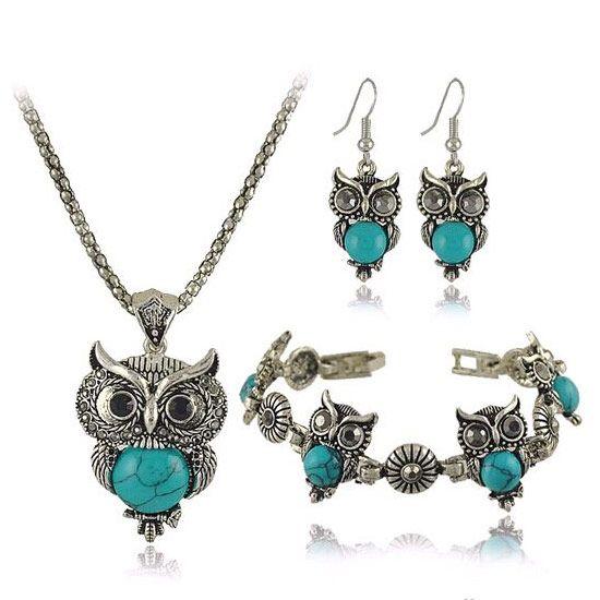 Vintage Retro Fashion Accessories Jewelry Sets Rhinestones Turquoise Owl Pendants Earrings Statement Chokers Necklaces Bracelets For Women