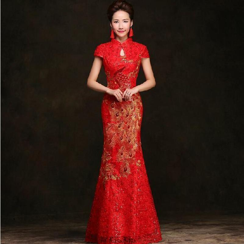 7201ebd31 2019 Traditional Chinese Dress Red Mermaid Qipao Summer Lace Bride Phoenix  Cheongsam Wedding Modern Qi Pao Oriental Style Dresses From Finebeautyone,  ...