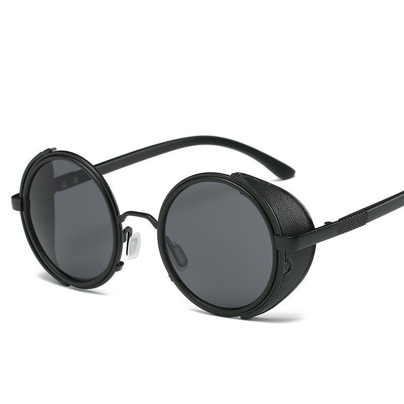 2cb431074 Compre NYWOOH Steampunk Óculos De Sol Dos Homens Rodada Gótico Óculos De Sol  Do Vintage Dos Homens Da Marca De Design Punk Steam Óculos De Óculos De Sol  De ...
