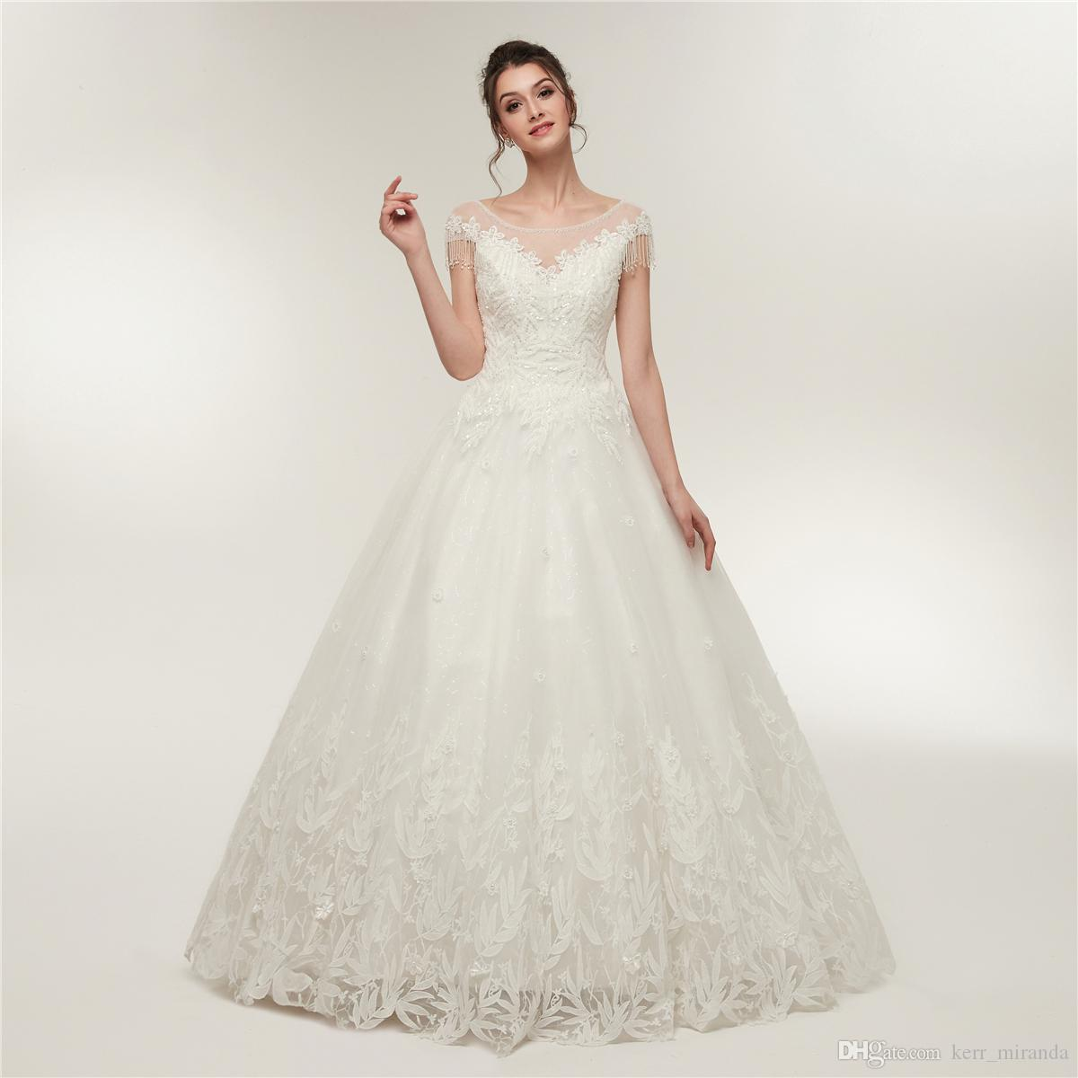 Discount White Wedding Dresses O Neck With Appliques Short Sleeves A