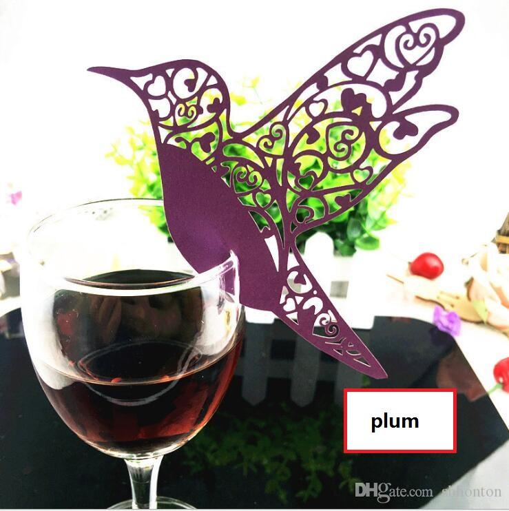 Laser Cut Paper Wine Glass Place Card bird card Wine Glass Card Creative Wedding Party Decorations fashion wedding favors BP081