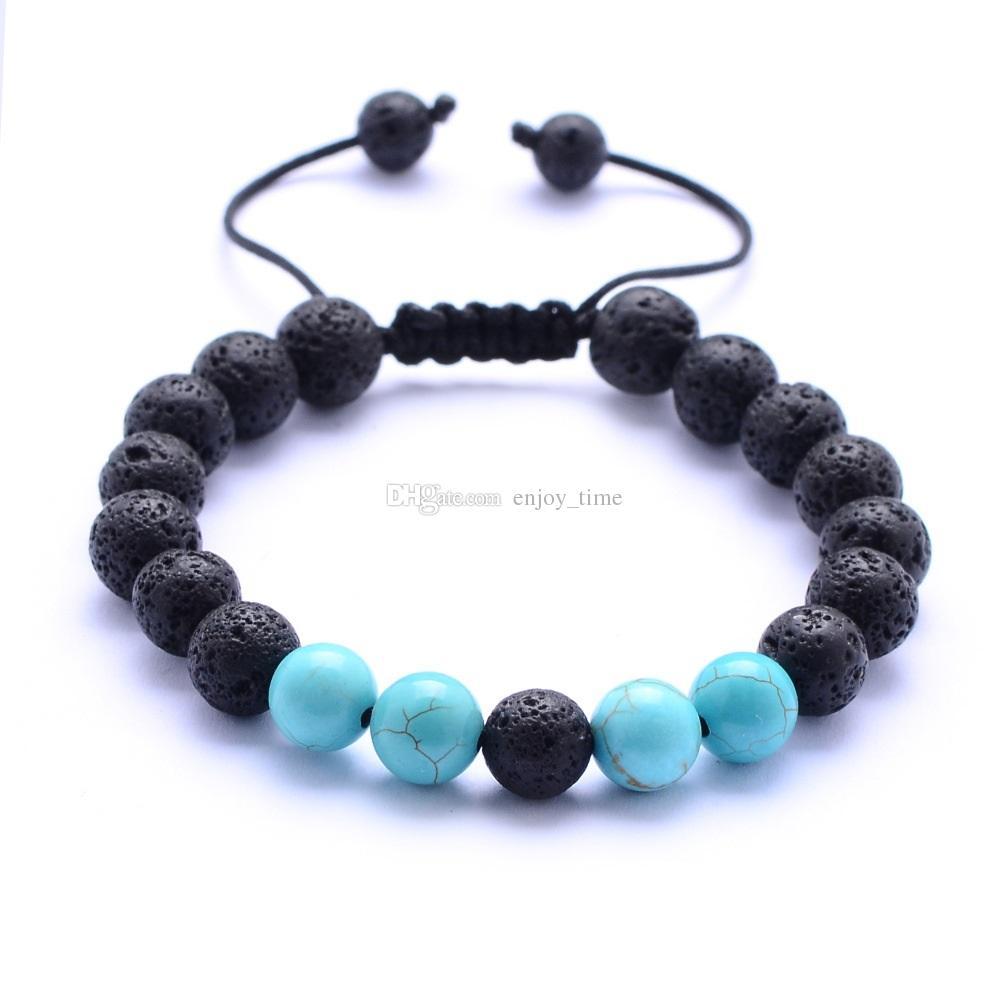 8 milímetros Natural Turquesa preto lava pedra Bead Weave Pulseiras Aromaterapia Óleo Essencial Difusor pulseira para mulheres dos homens de jóias