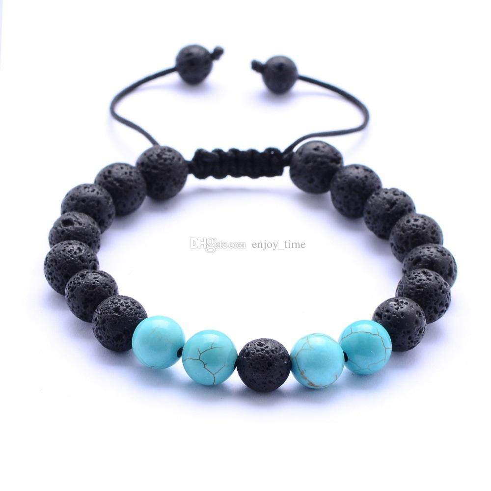 8mm Natural Turquoise Black Lava Stone Bead Weave Bracelets Aromatherapy Essential Oil Diffuser Bracelet For Women Men jewelry