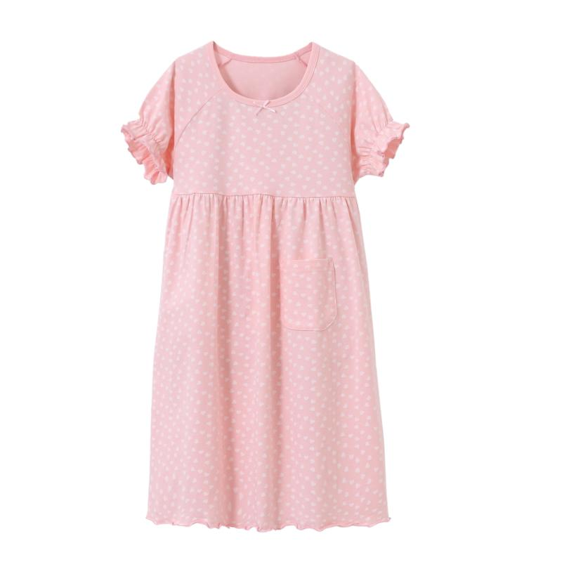 Girls Dressing Gown Long Nightgown Cotton Casual Loose Nightdress ...
