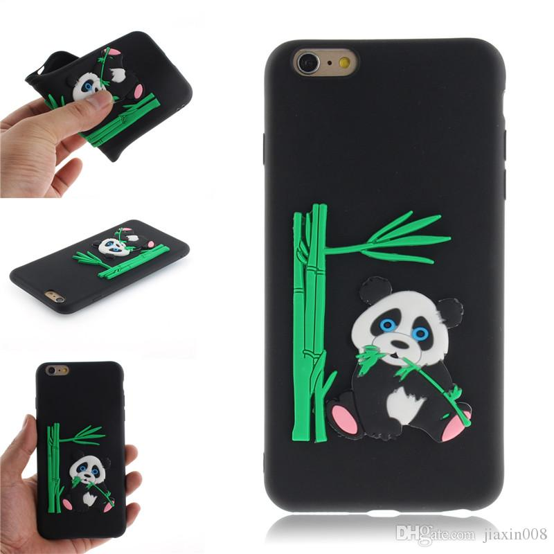 Fashion Cover For iPhone 6 6S Case Coque Candy Silicone Panda bamboo Soft silica gel Mobile Phone Cases Shell Covers
