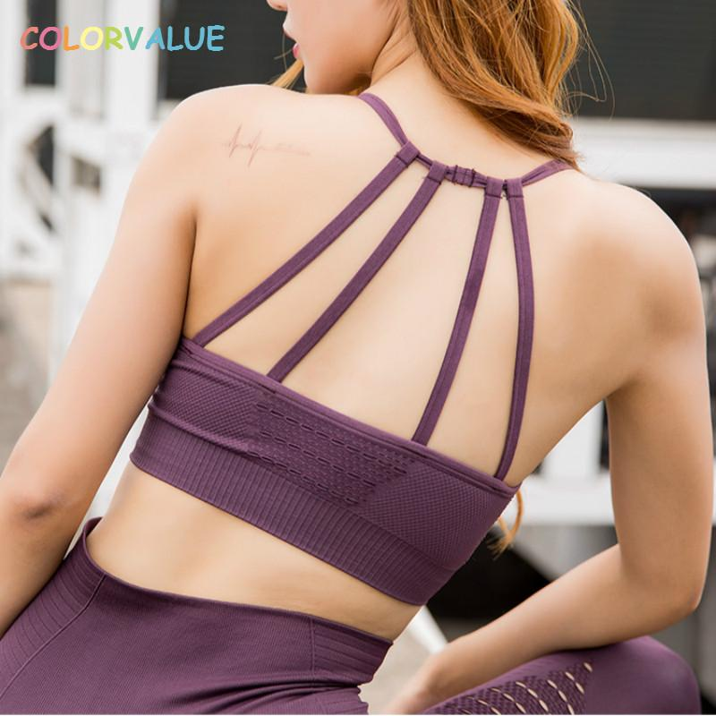 27cf2bdd3b Colorvalue Hollow Out Padded Sports Bra Top Women Seamless Quick Dry  Workout Gym Bras Solid Push Up Fitness Yoga Bras Crop Top Sports Bras Cheap Sports  Bras ...