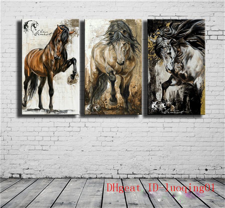 2018 Horse , 3 Spell Canvas Pieces Home Decor HD Printed Modern Art ...
