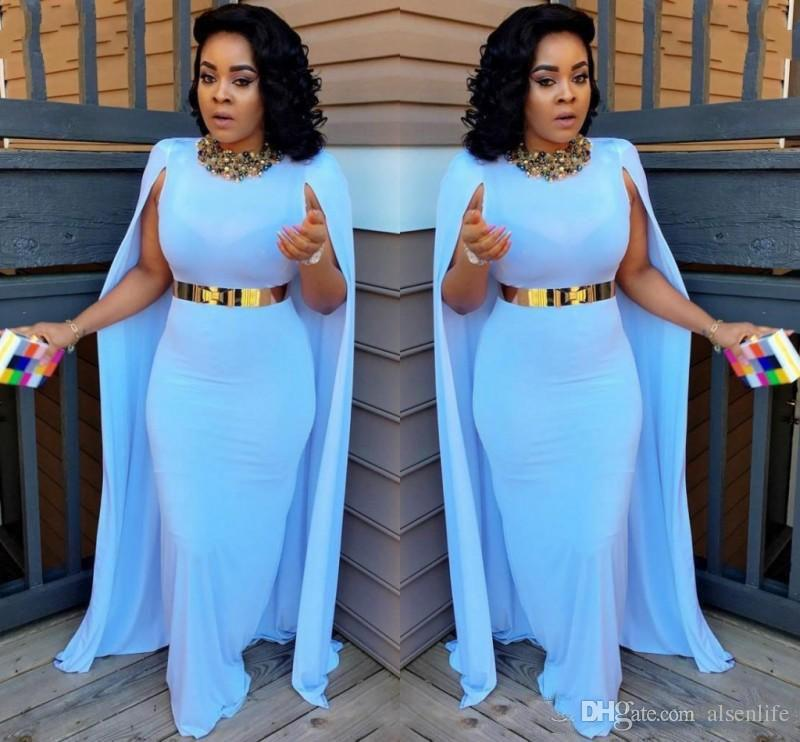 Light Blue Plus Size Evening Dresses With Cape Sheath Floor Length Evening Gowns Aso Ebi South African Women Formal Party Dresses
