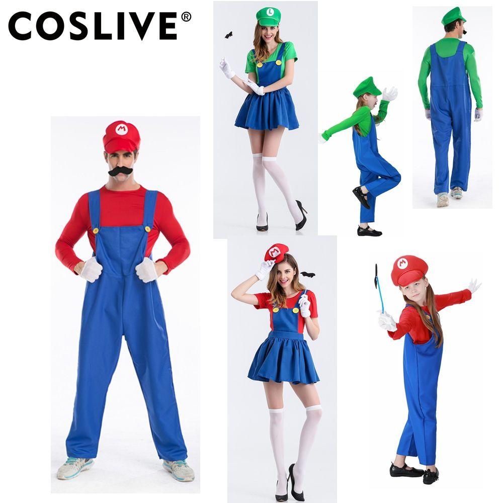 Compre Coslive Super Mario Bros Cosplay Disfraces De Halloween MARIO LUIGI  Vestido De Madre E Hijo De Plomero Mono Para La Familia Cosplay A  38.27  Del ... 1ed49eb3f4a8