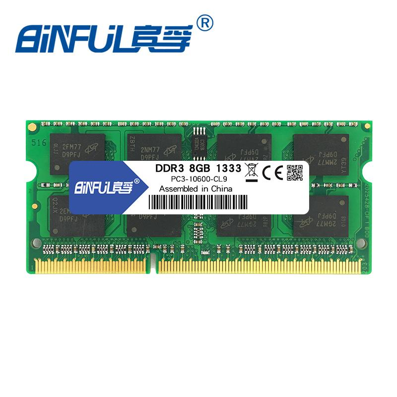ram for laptop Binful Original New DDR3 8GB 1333mhz 1600MHz PC3-12800s 1 5V  voltage CL11 SODIMM 204pin notebook Memory Ram for laptop